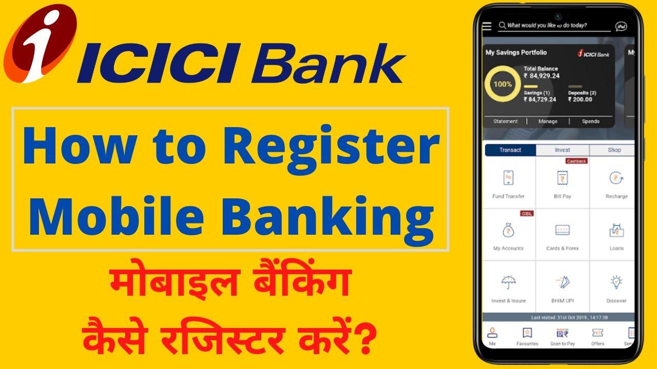 register mobile banking icici
