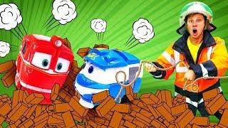 Роботы-поезда ижелезная дорога— Веселая школа, видео для детей про паровозы и работу спасателей