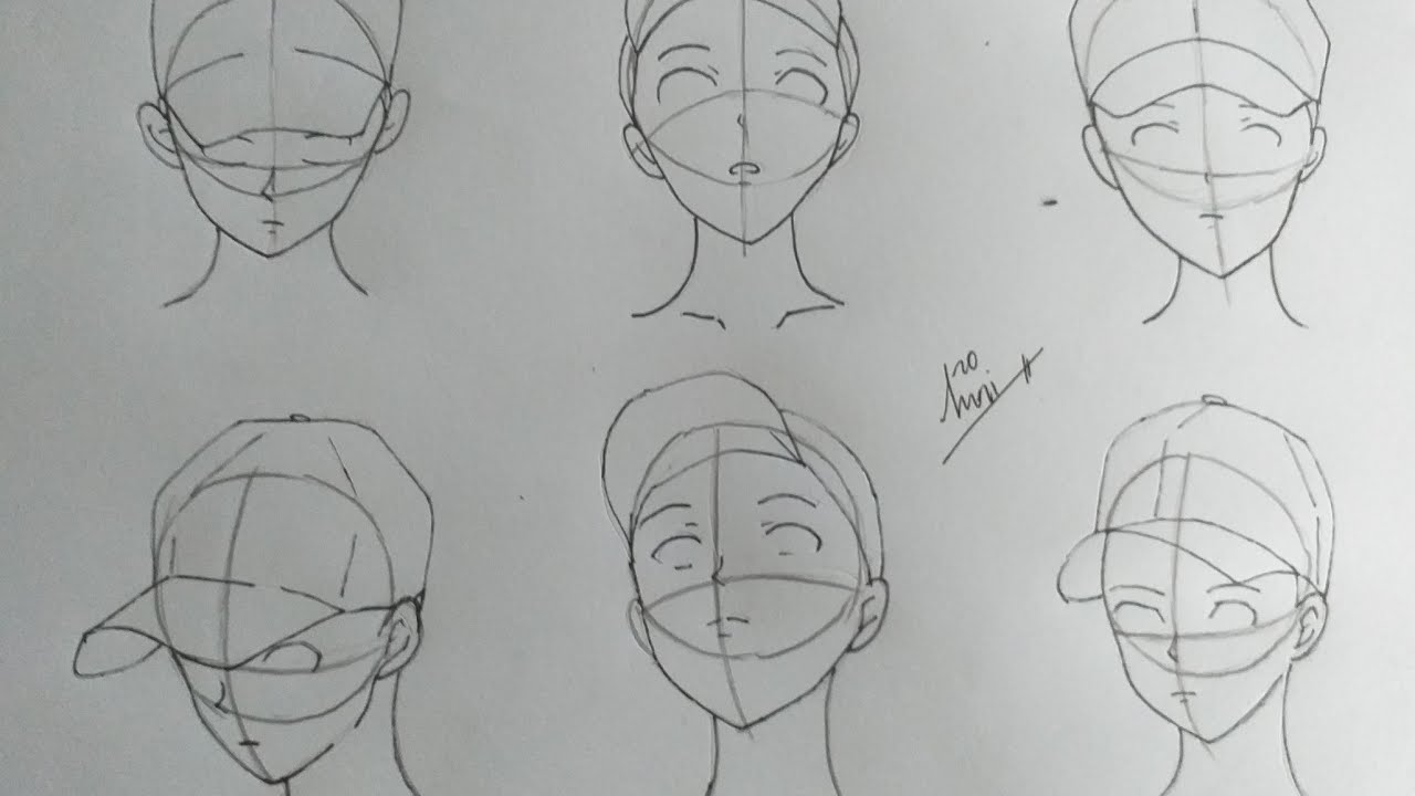 Cách vẽ khuôn mặt anime boy đội nón -nori toshiro