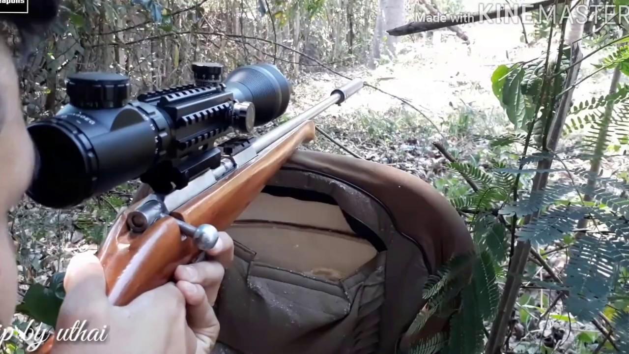 .22lr ลูกกรดไทยประดิษฐ์+ท่อเก็บเสียง+กล้อง rifle scope ตอน ตั้งกล้องครั้งแรก