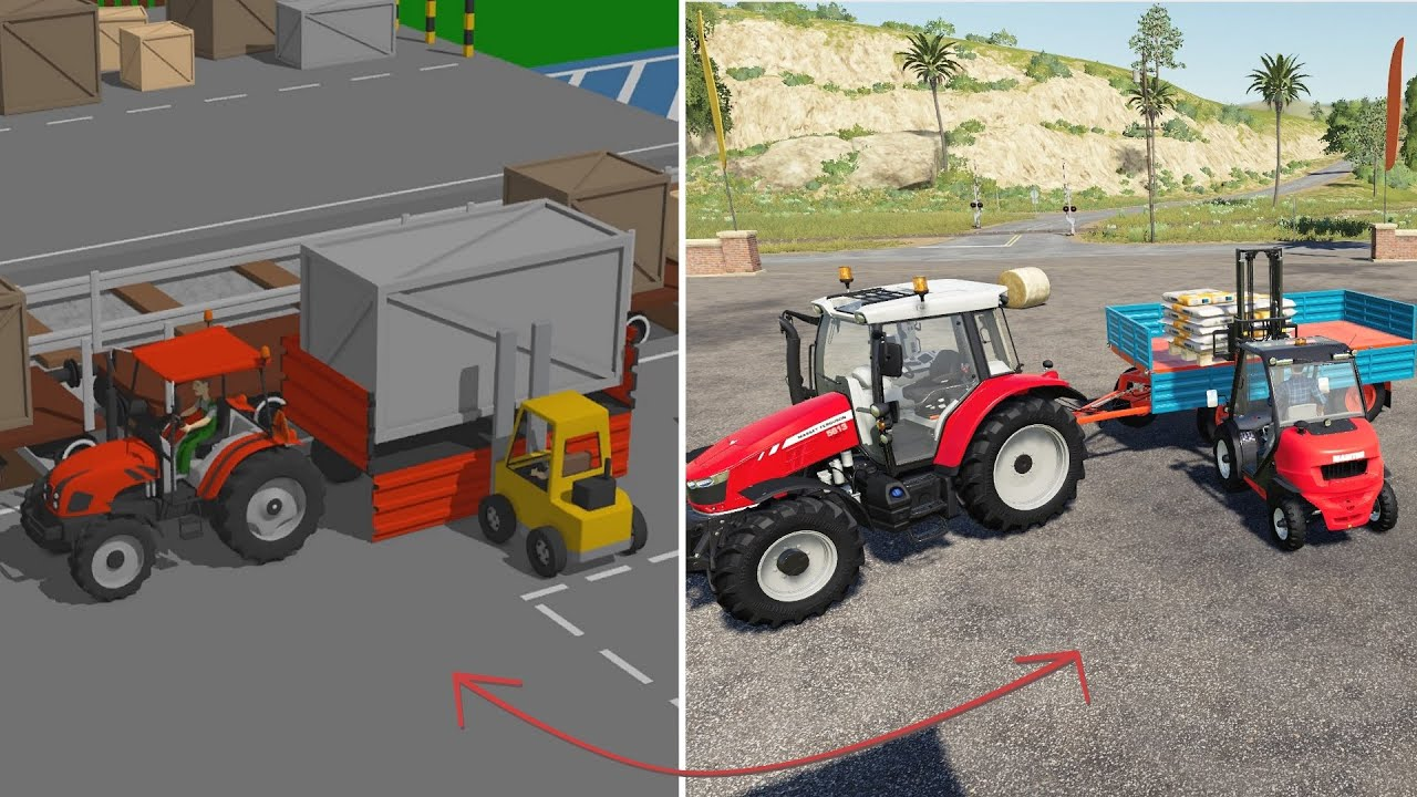 A tractor with Trailer and a Cargo BOX | Tractor Loading Simulation and Unloading the Train = LS19