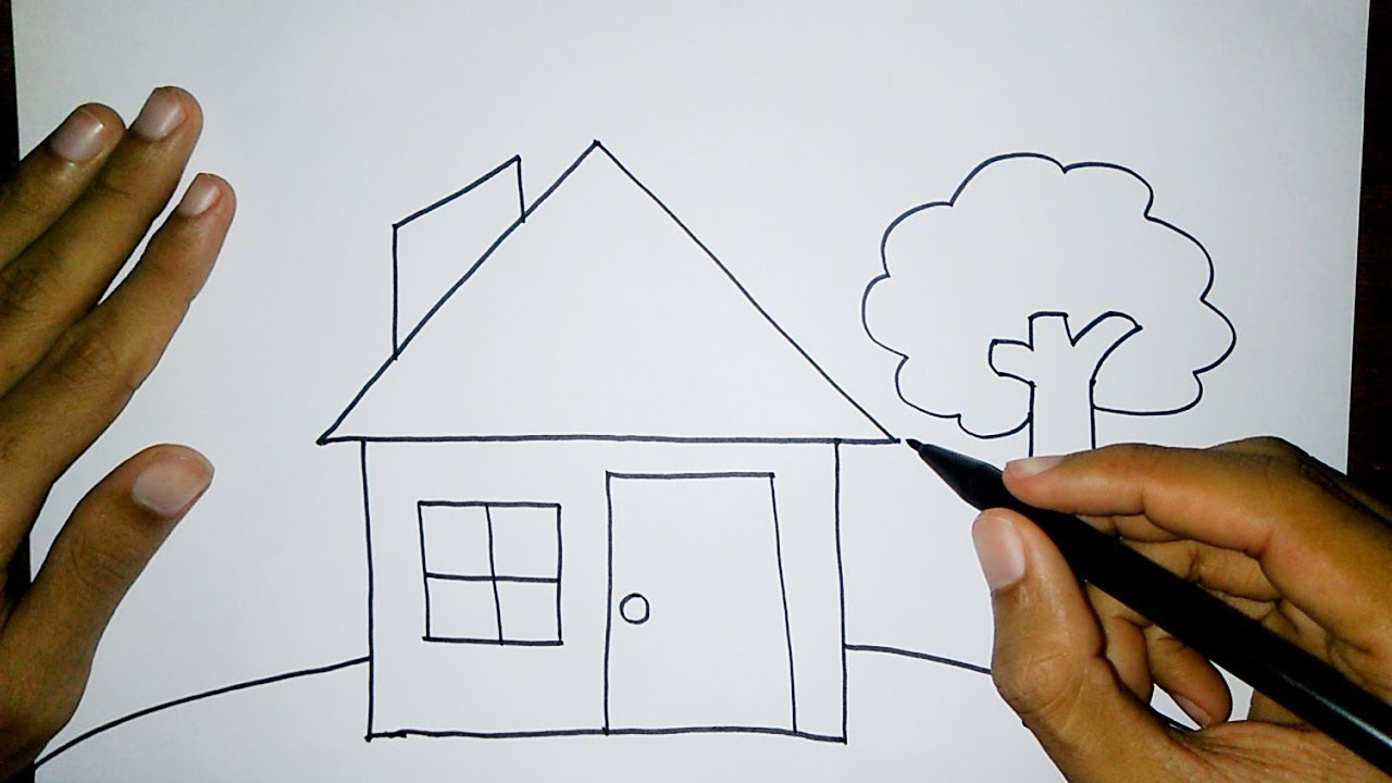Sangat Mudah Menggambar Rumah Untuk Anak Tk Dan Sd Drawing House For Kids Very Easy