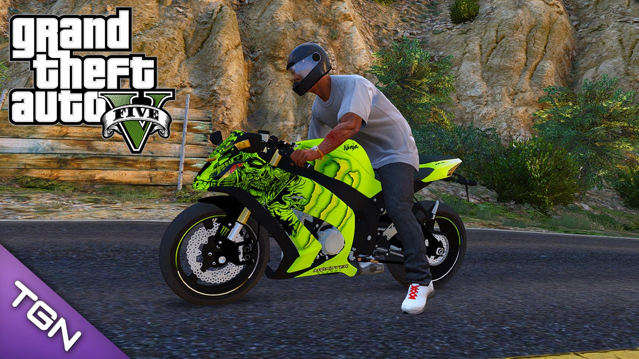 Gta V Kawasaki Zx 10r Monster Energy Download Youtube