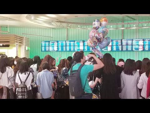 Popular Chinese Boy Band Nine Percent and there fans At Los Angeles International Airport