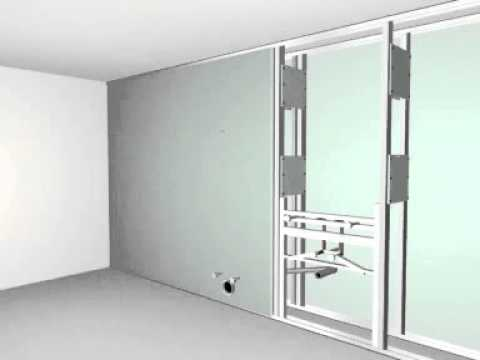 monta ciany instalacyjnej z p yt g k system knauf w116 youtube. Black Bedroom Furniture Sets. Home Design Ideas