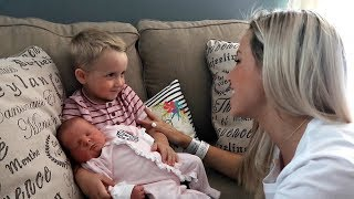 BIG BROTHERS MEET THEIR BABY SISTER FOR THE FIRST TIME // INTRODUCING BABY TO SIBLINGS // DITL SAHM