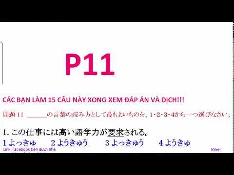 Luyện trắc nghiệm kanji N2  15 câu mõi ngày Đáp án VietSub P11