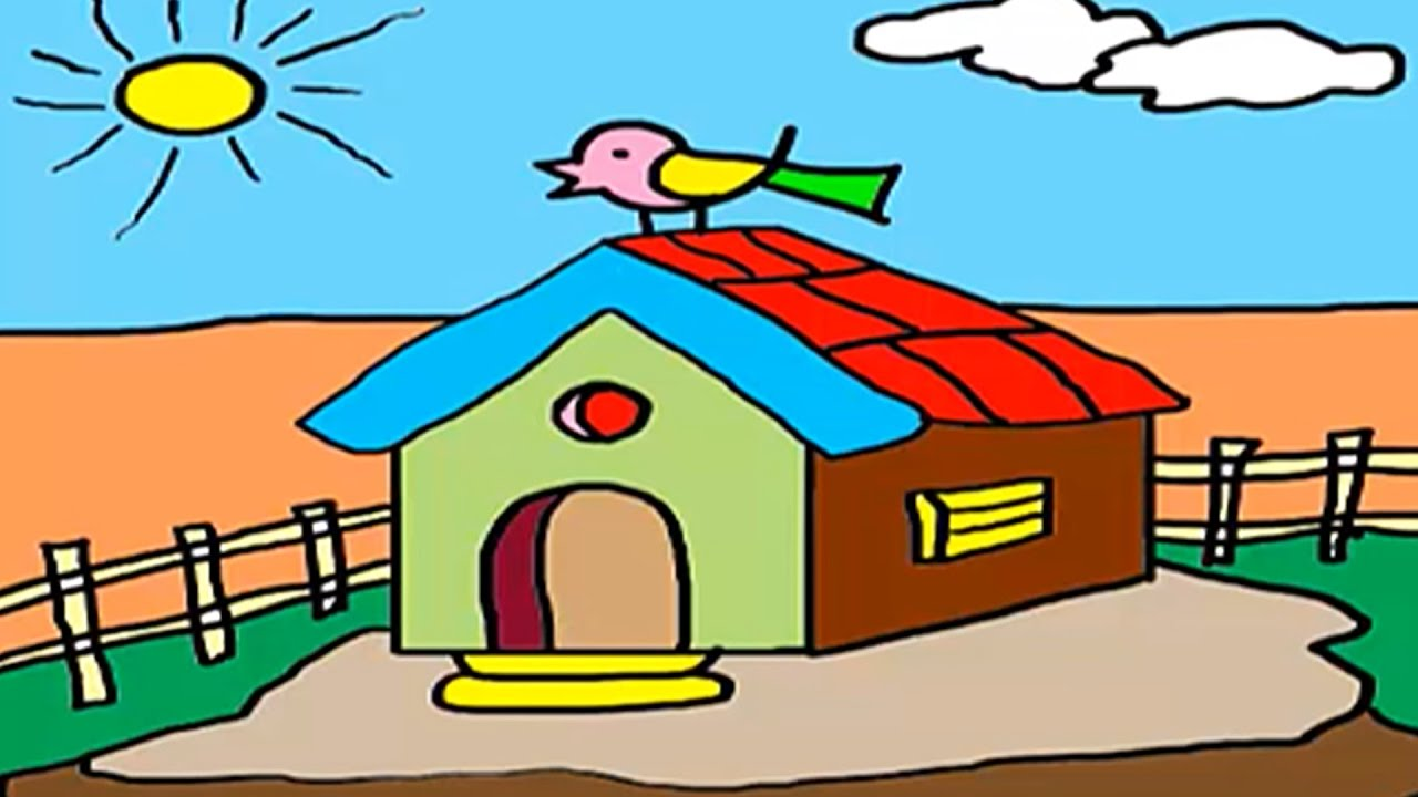 Coloring For Kids, How to Draw a House, Hut Drawing For Children, By ...