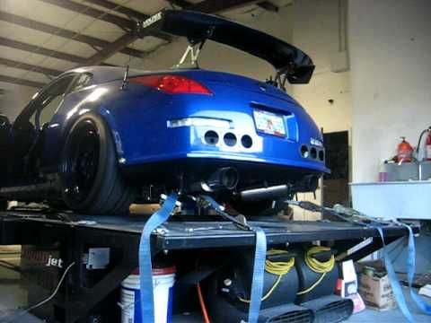 350Z -VQ35HR dyno- Injen intakes, HKS exhaust, Tomei cams, headers and test  pipes, Cobb
