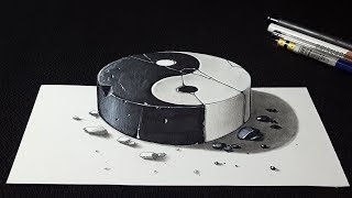 How to Draw 3D Stone Yin-Yang - Easy Drawing