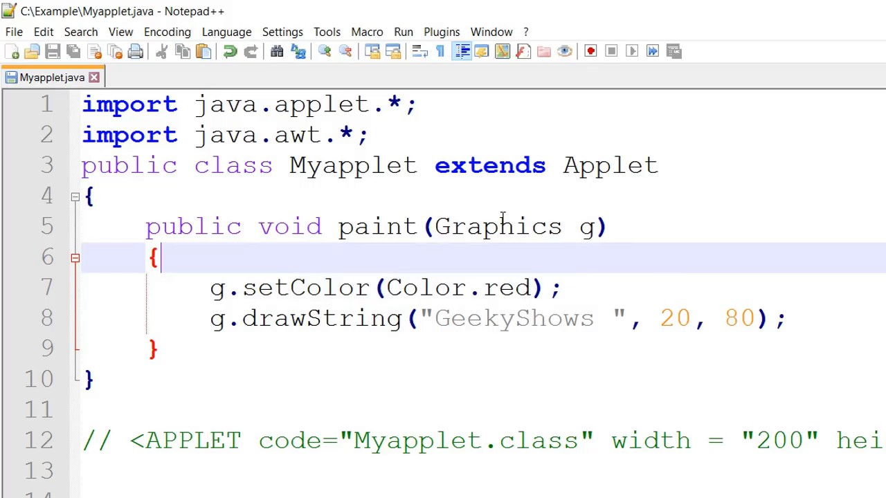 Font Color setColor in Java Applet (Hindi) - YouTube