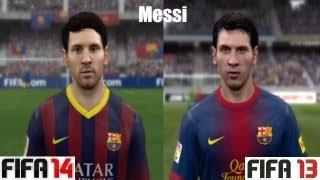FIFA 14 vs FIFA 13 FC Barcelona FACE Comparison