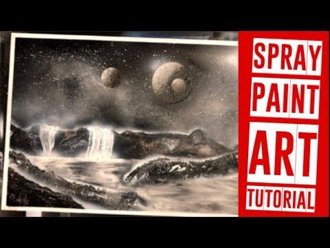 Spray Paint Art Tutorial For Beginners - Black and White Moon Waterfall Galaxy Spray Paint Art thumbnail