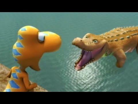 Поезд динозавров Тайни и крокодил Мультфильм про динозавров