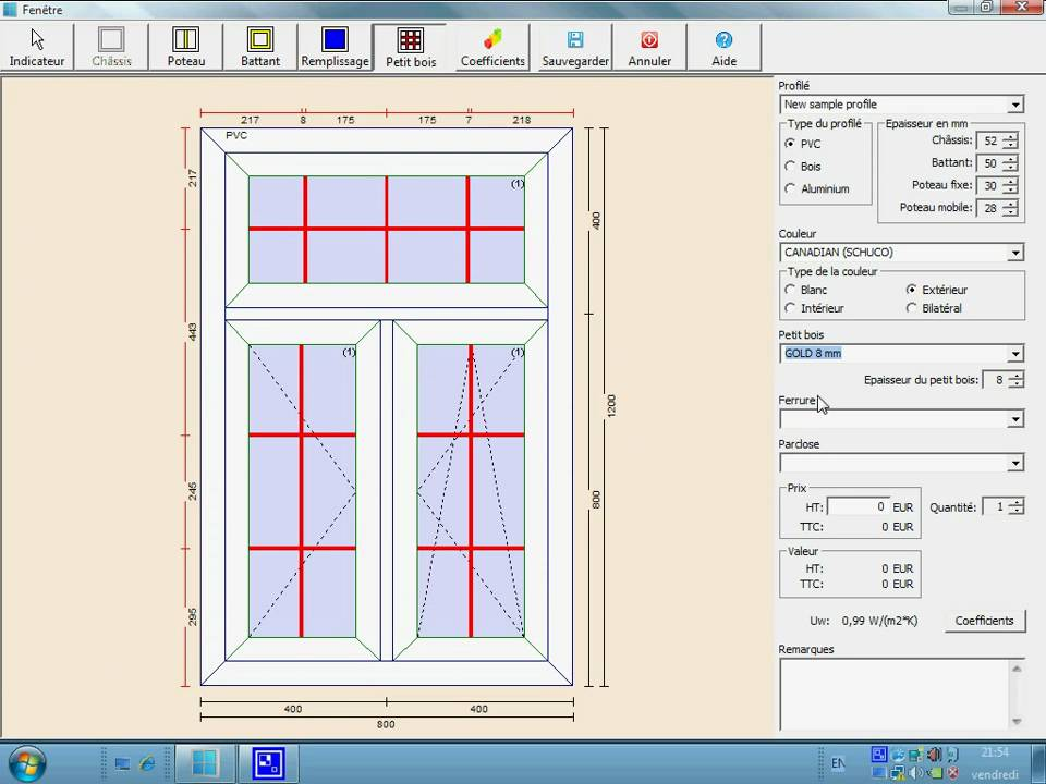 Pvc windows designer module de conception de la fen tre for Chassis de fenetre pvc