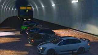 Forza Horizon 3 ONLINE  Crew VS Train  + Jumping on Train?!