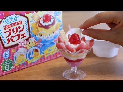 Popin'Cookin' DIY Candy Arrange Strawberry Pudding Parfait ~知育菓子アレンジ  プリンパフェ いちご