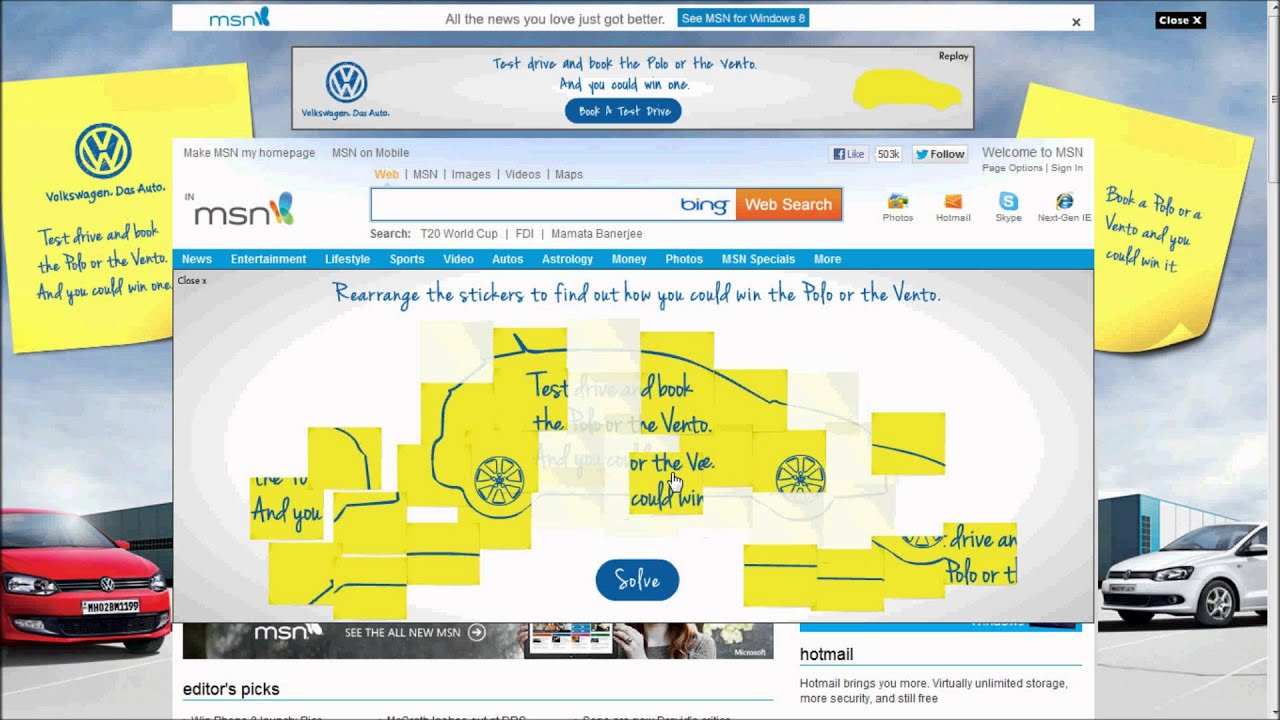VOLKSWAGEN VENTO INTERACTIVE TAKEOVER ON MSN INDIA