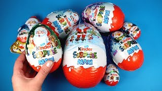 Surprise Eggs Christmas Compilation Lots of Kinder Surprise Toys & Drawing Santa Christmas Coloring