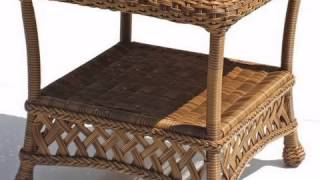 Outdoor Wicker End Table - Montauk Shown In Natural - Wickerparadise.com