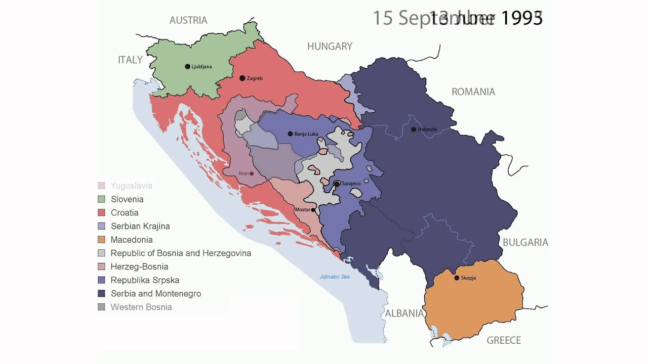 Yugoslavia Break Up Map Timeline of the Breakup of Yugoslavia   YouTube