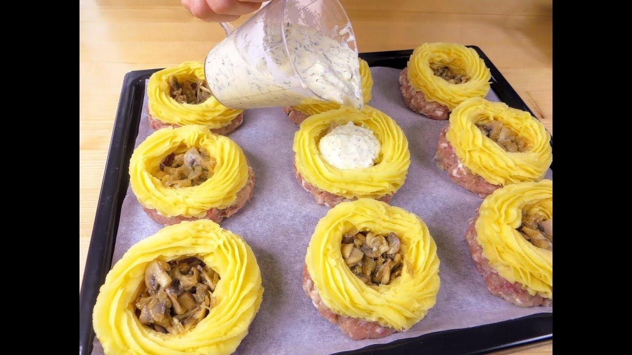 Заливаем соусом грибы! Вкуснятина из фарша и картошки на праздничный стол / Рецепты Другой Кухни