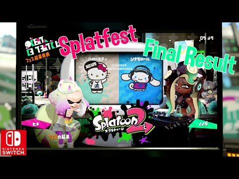 Nintendo Splatoon 2 x Sanrio Splatfest Hello Kitty vs Cinnamoroll Final Result Switch