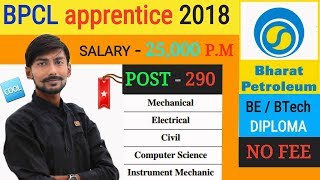 BPCL recruitment 2018 | APPRENTICE TRAINEE | BE/BTech/DIPLOMA | all details & my opinions