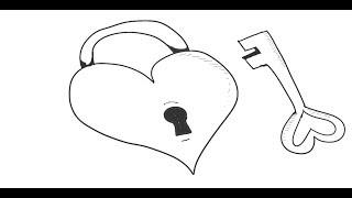 طريقة رسم قلب حب على شكل قفل مع مفتاح رسم قلب حب ومفتاح بطريقة رائعة لن تسدق مدى السهولة Youtube