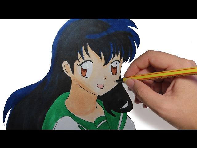 COMO DIBUJAR A KAGOME DE INUYASHA: Aprende a dibujar manga y anime paso a paso