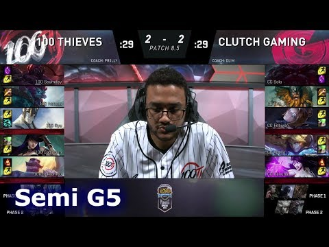 100 Thieves Vs Clutch Gaming | Game 5 Semi Finals S8 NA LCS Spring 2018 | 100 Vs CG G5
