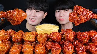 뱀파이어 치킨 리얼사운드 먹방ASMR MUKBANG SPICY FRIED CHICKEN & SWEET CHICKEN スパイシーなチキン Gà ไก่ Ayam eating sounds