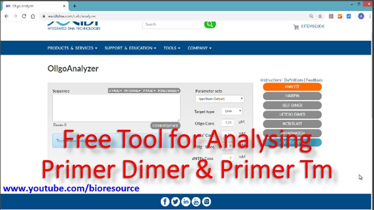 Oligo Analyzer Tool Free For Primer Dimer Analysis And Tm Calculation Youtube
