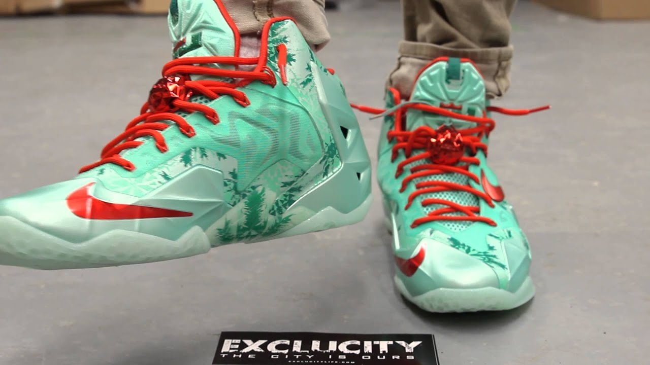 nike lebron 11 christmas on feet