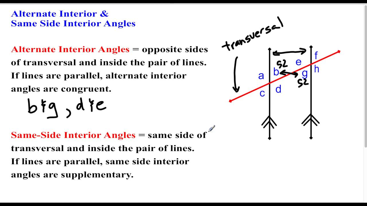 Same side interior angles are congruent - Same side exterior angles are congruent ...