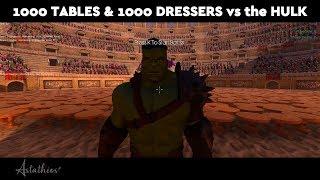 1000 TABLES & 1000 DRESSERS vs the HULK! Epic Battle Simulator