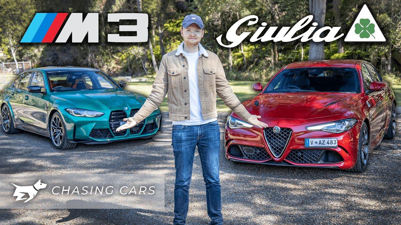 BMW M3 vs Alfa Romeo Giulia Quadrifoglio 2021 comparison   which sports sedan is best   Chasing Cars