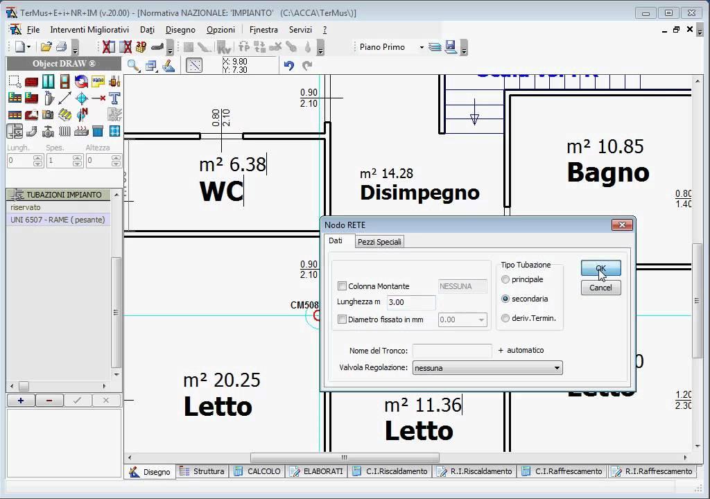 Acca software termus i progettazione impianti di for Disegno impianto riscaldamento a termosifoni