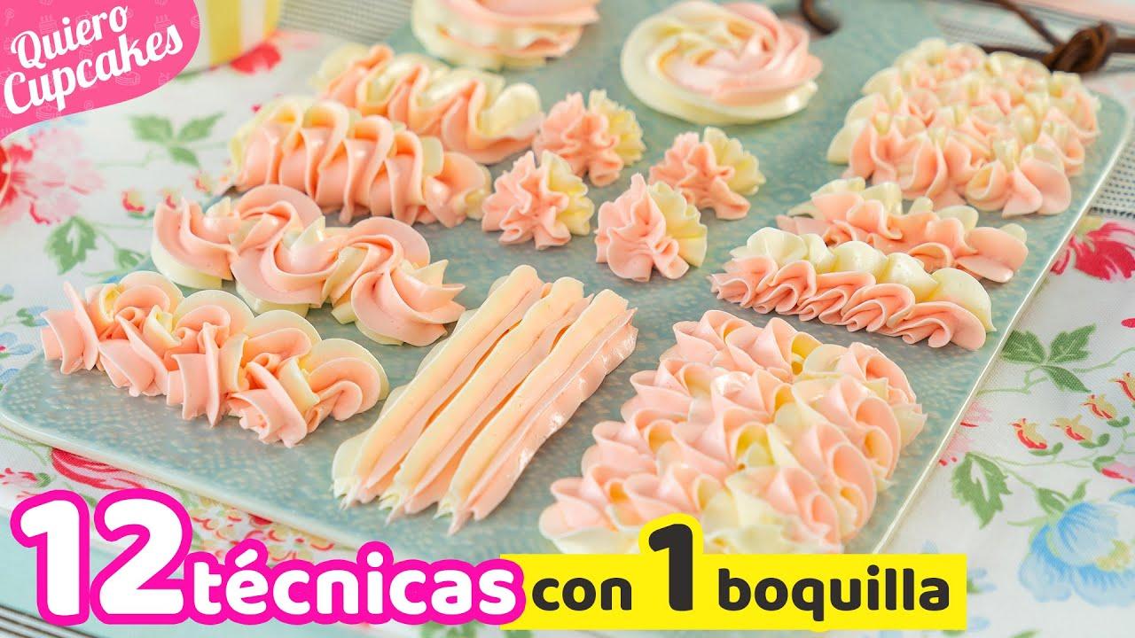 12 TIPOS DE DECORACIONES CON 1 SOLA BOQUILLA | USO Y MANEJO DE DUYA 1M | QUIERO CUPCAKES