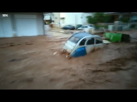 Flash flooding in Mandra Attica, Greece - June 26, 2018