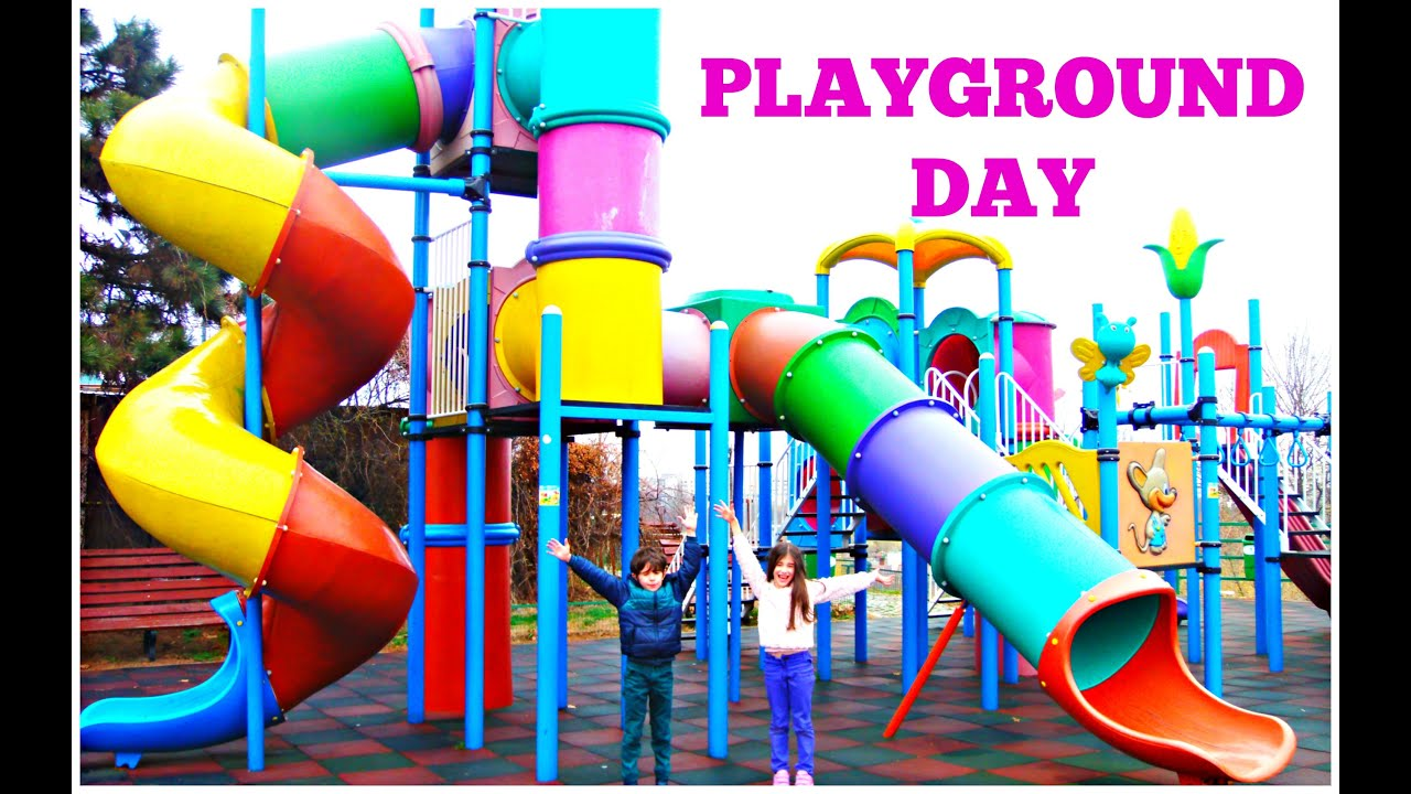 Outside Playground Fun Day on Colorfull Slides Video for