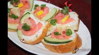 Праздничные бутерброды с лососем и творожным сыром