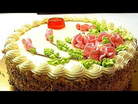"""Советский """"Бисквитно-кремовый"""" торт.Рецепт сливочного крема/Sponge Cream Cake"""