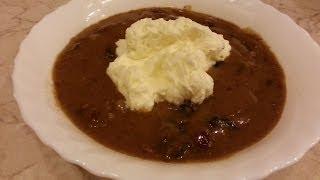 Хлебный суп с сухофруктами и сливками.