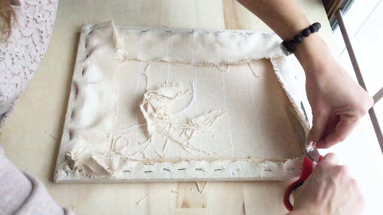Trimming the Monks cloth for Punch Needle Frame