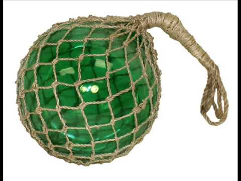 Glass Fishing Float With Rope, Wrapped In Hemp Rope; Glass Fishing Balls, Floating Glass Fish