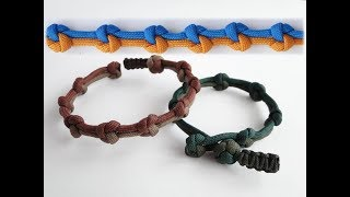 """How to Make a """"True Lovers Knot"""" Diamond Knot and Loop Paracord Bracelet-Mini Cobra Closure Pull"""