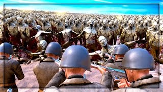30,000 ZOMBIE HORDE vs 500 WW2 Soldiers! (Ultimate Epic Battle Simulator)