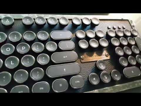 Azio Retro Classic Wireless Bluetooth Mechanical Keyboard Via Indiegogo Unboxing