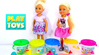 Barbie Doll twins Chelsea play with Noise SLIME Putty goo - Learn colors for kids